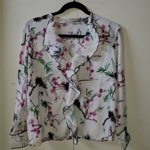 Zara patterned blouse with ruffled collar